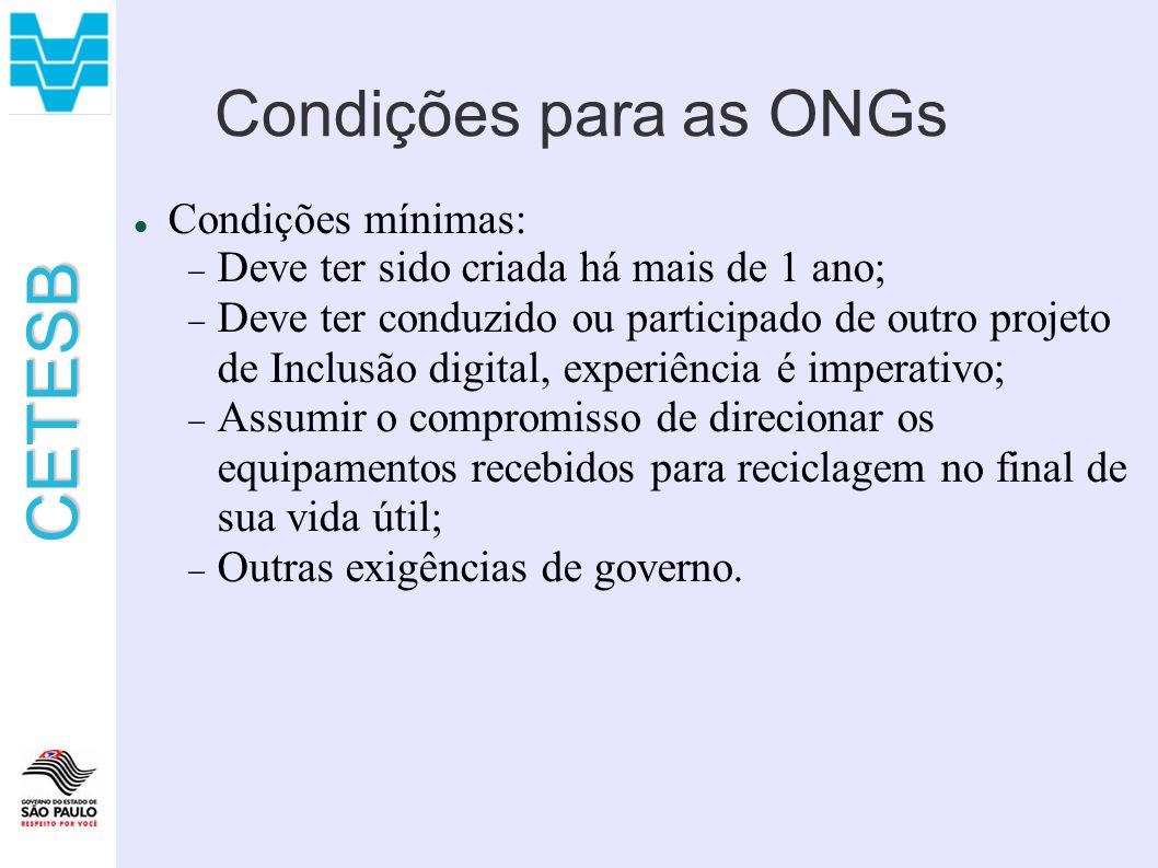 Condições para as ONGs Condições mínimas: