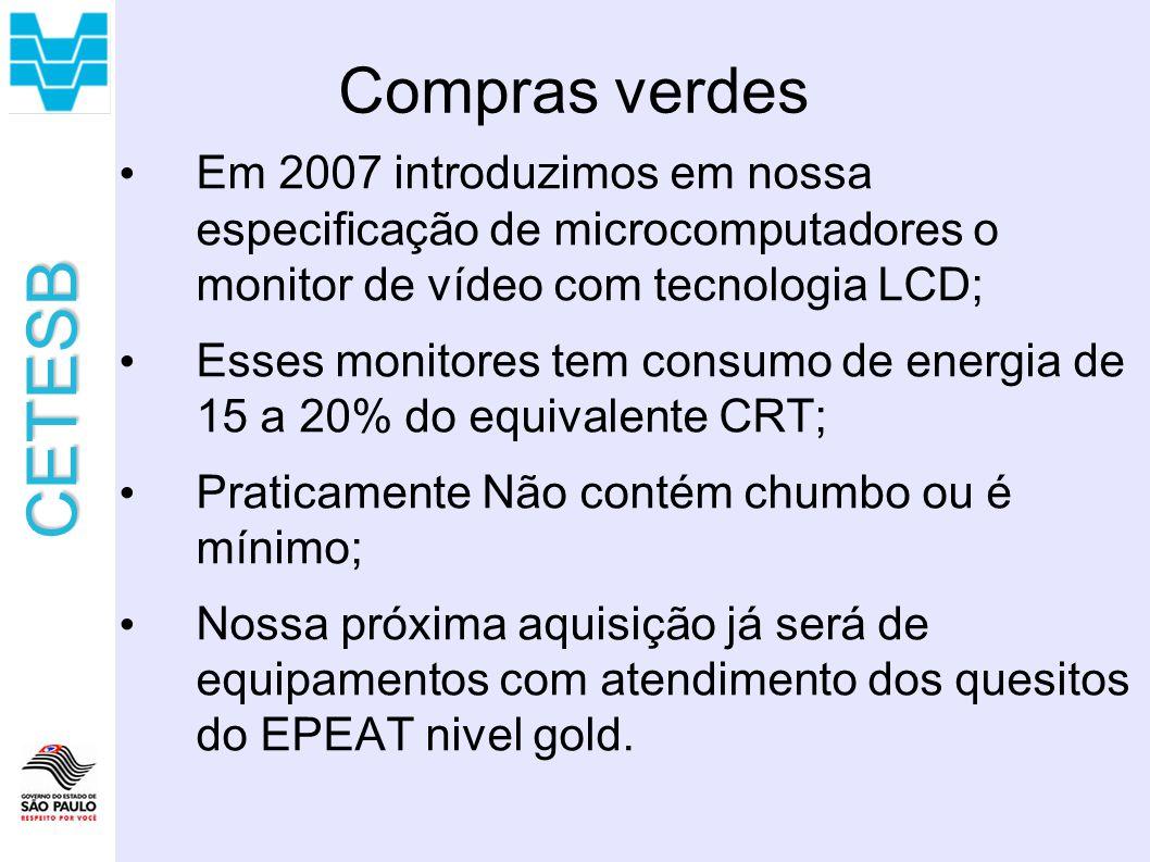 Compras verdes Em 2007 introduzimos em nossa especificação de microcomputadores o monitor de vídeo com tecnologia LCD;