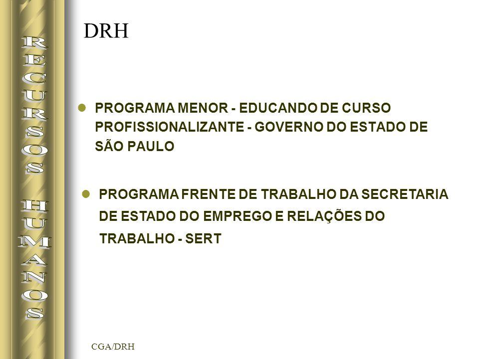DRH PROGRAMA MENOR - EDUCANDO DE CURSO PROFISSIONALIZANTE - GOVERNO DO ESTADO DE SÃO PAULO. RECURSOS HUMANOS.