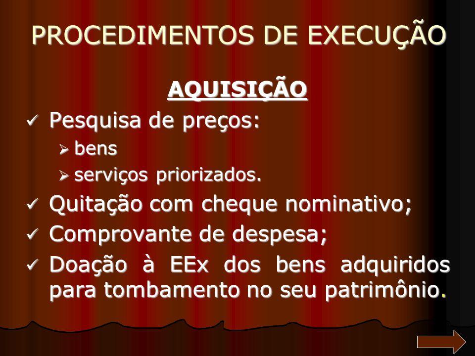PROCEDIMENTOS DE EXECUÇÃO