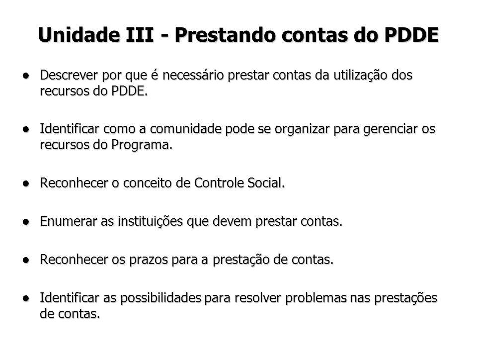 Unidade III - Prestando contas do PDDE