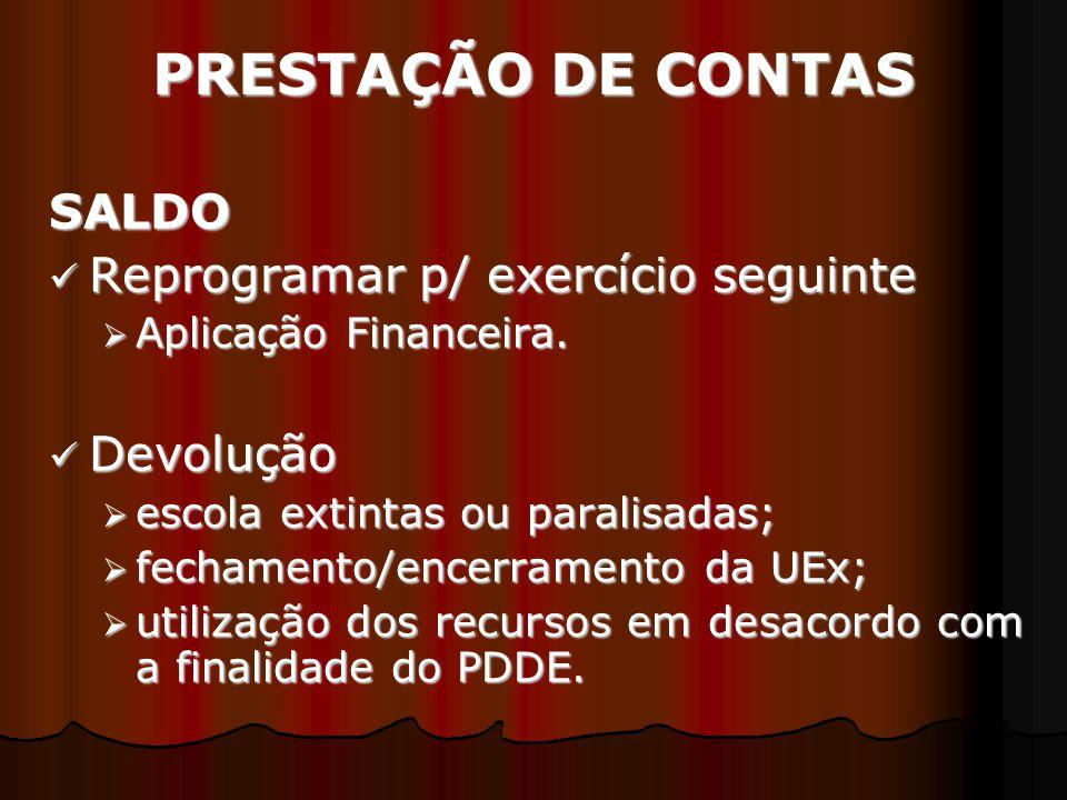 PRESTAÇÃO DE CONTAS SALDO Reprogramar p/ exercício seguinte Devolução