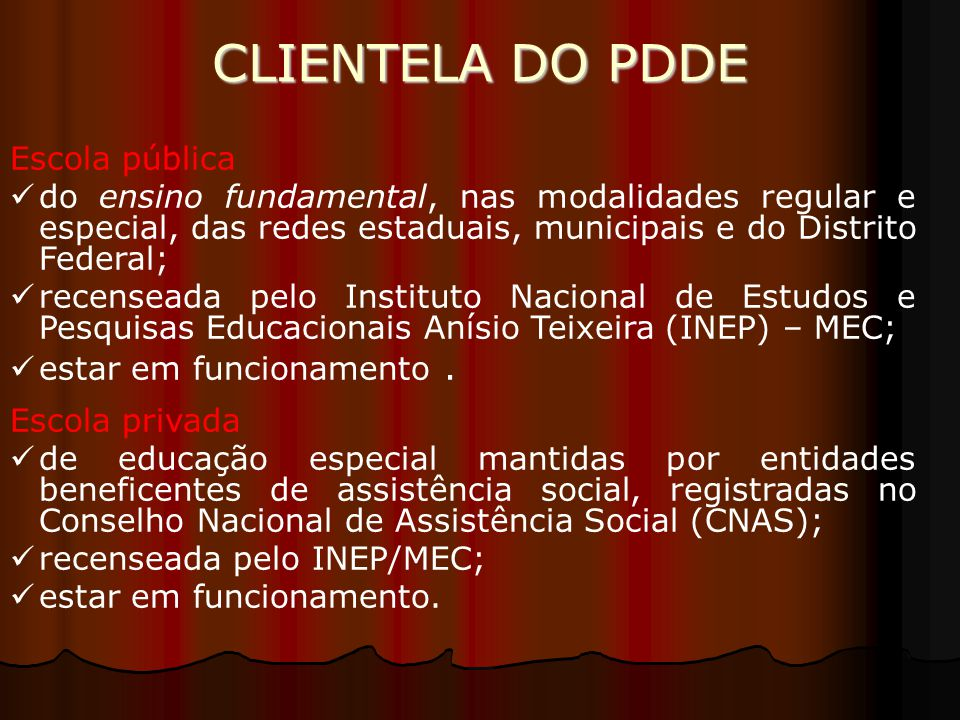 CLIENTELA DO PDDE Escola pública