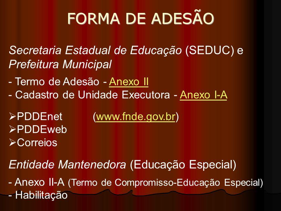 FORMA DE ADESÃO Secretaria Estadual de Educação (SEDUC) e