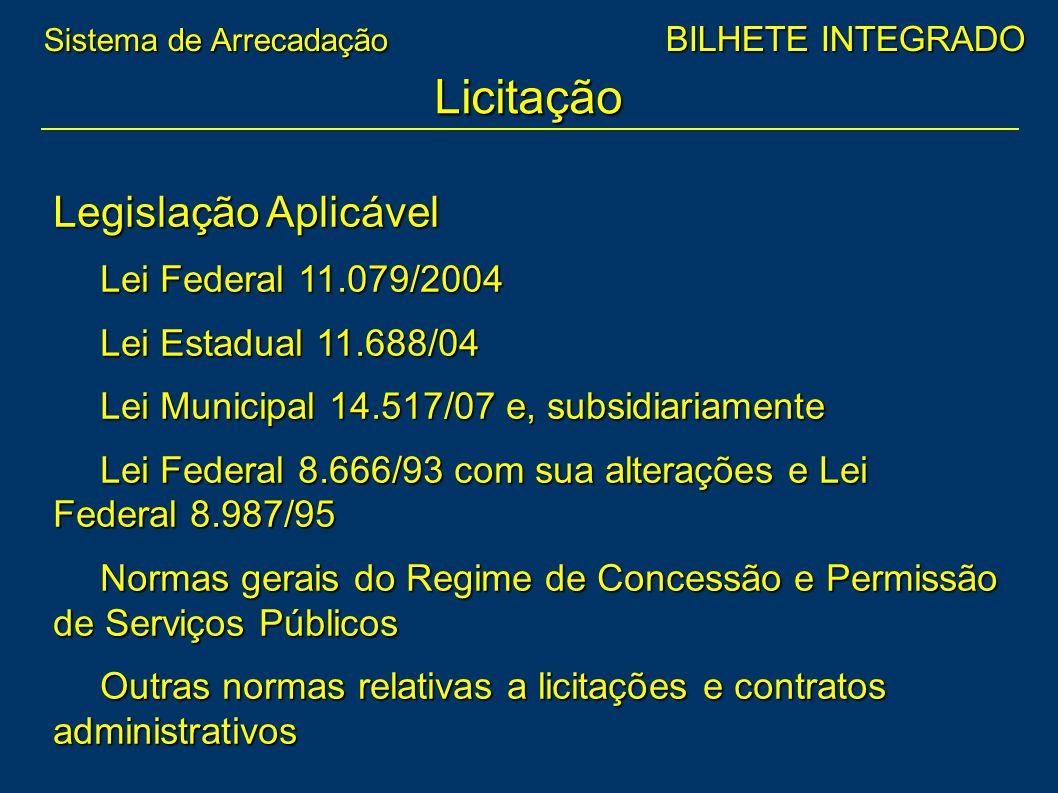 Licitação Legislação Aplicável Lei Federal 11.079/2004