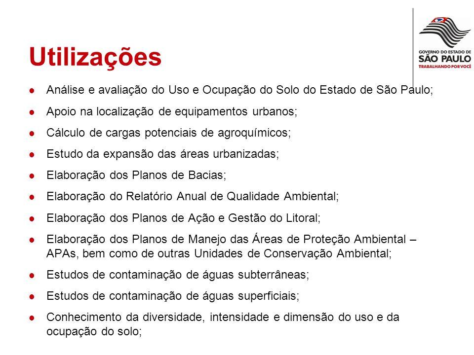 Utilizações Análise e avaliação do Uso e Ocupação do Solo do Estado de São Paulo; Apoio na localização de equipamentos urbanos;