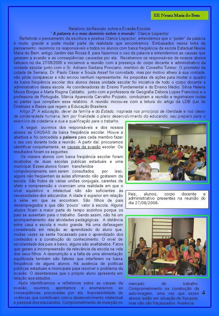 EE Neusa Maria do Bem Relatório da Reunião sobre a Evasão Escolar