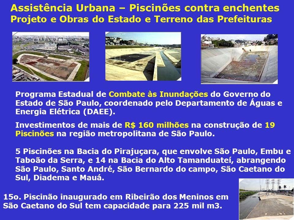 Assistência Urbana – Piscinões contra enchentes Projeto e Obras do Estado e Terreno das Prefeituras