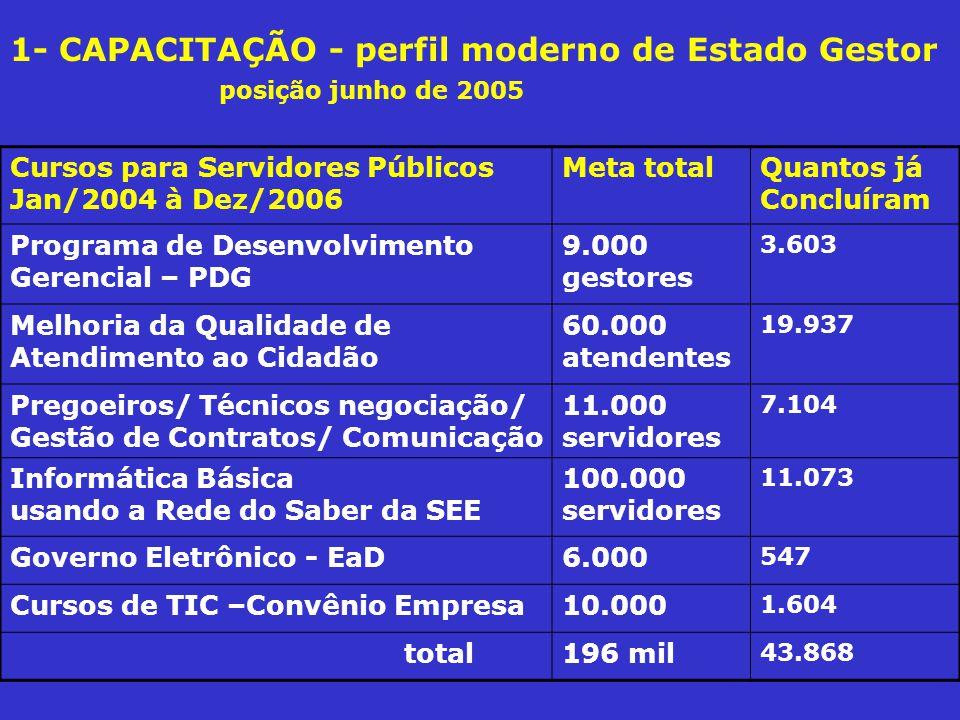 1- CAPACITAÇÃO - perfil moderno de Estado Gestor posição junho de 2005