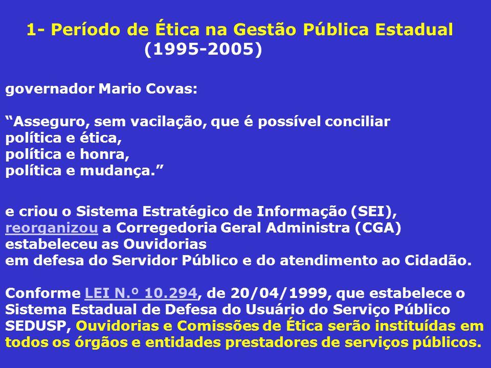 1- Período de Ética na Gestão Pública Estadual (1995-2005)