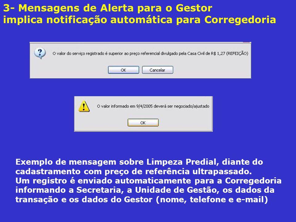 3- Mensagens de Alerta para o Gestor implica notificação automática para Corregedoria