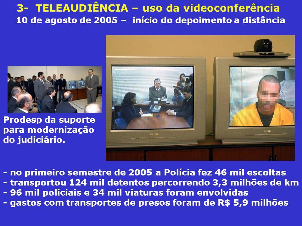 3- TELEAUDIÊNCIA – uso da videoconferência 10 de agosto de 2005 – início do depoimento a distância