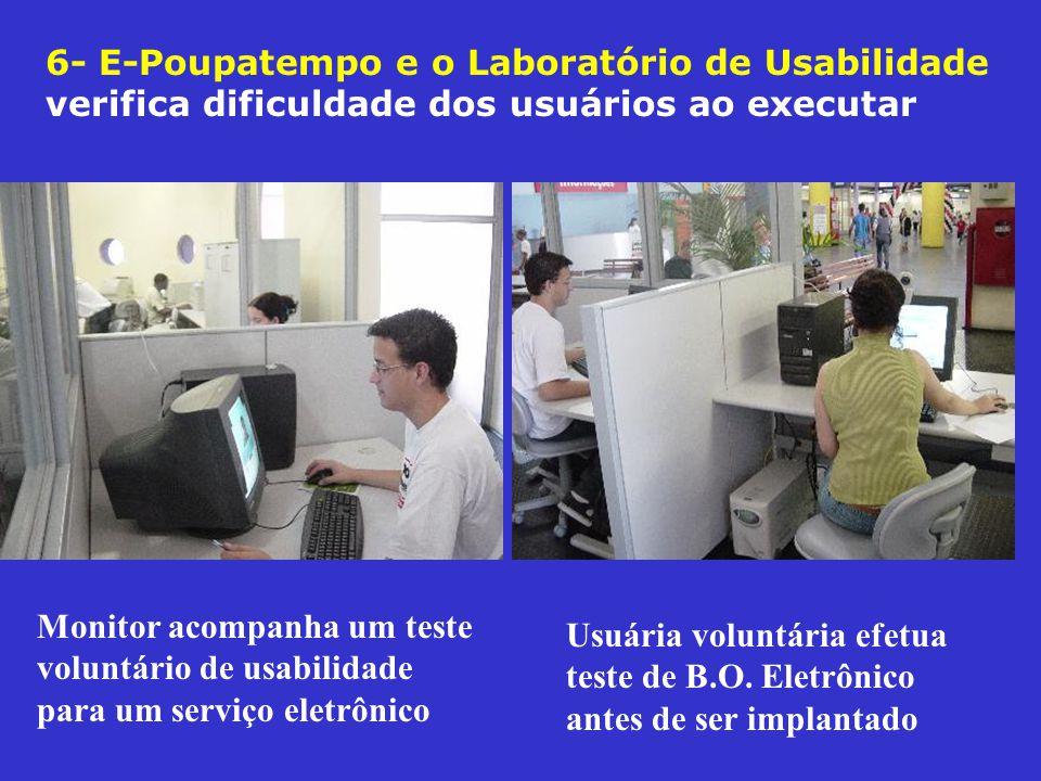 6- E-Poupatempo e o Laboratório de Usabilidade verifica dificuldade dos usuários ao executar