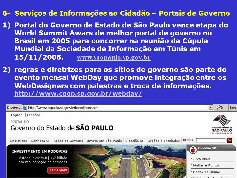 6- Serviços de Informações ao Cidadão – Portais de Governo