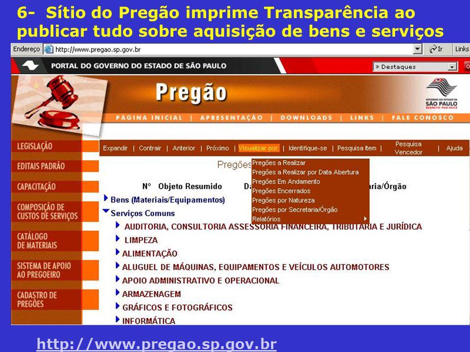 6- Sítio do Pregão imprime Transparência ao publicar tudo sobre aquisição de bens e serviços
