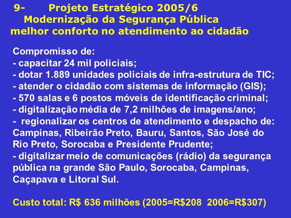9- Projeto Estratégico 2005/6 Modernização da Segurança Pública melhor conforto no atendimento ao cidadão