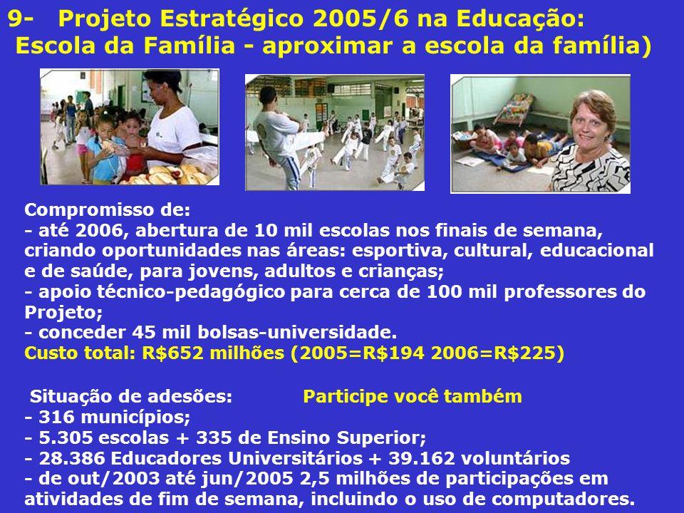 9- Projeto Estratégico 2005/6 na Educação: Escola da Família - aproximar a escola da família)