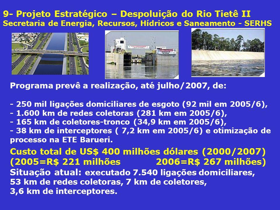9- Projeto Estratégico – Despoluição do Rio Tietê II Secretaria de Energia, Recursos, Hídricos e Saneamento - SERHS