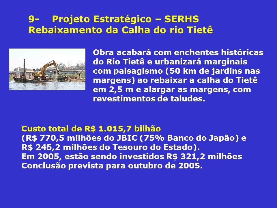 9- Projeto Estratégico – SERHS Rebaixamento da Calha do rio Tietê