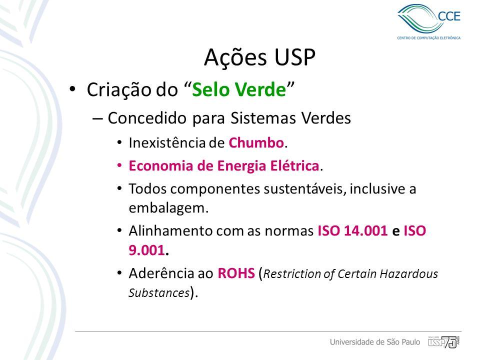 Ações USP Criação do Selo Verde Concedido para Sistemas Verdes
