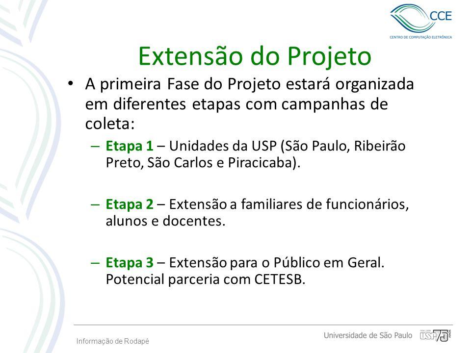 Extensão do Projeto A primeira Fase do Projeto estará organizada em diferentes etapas com campanhas de coleta: