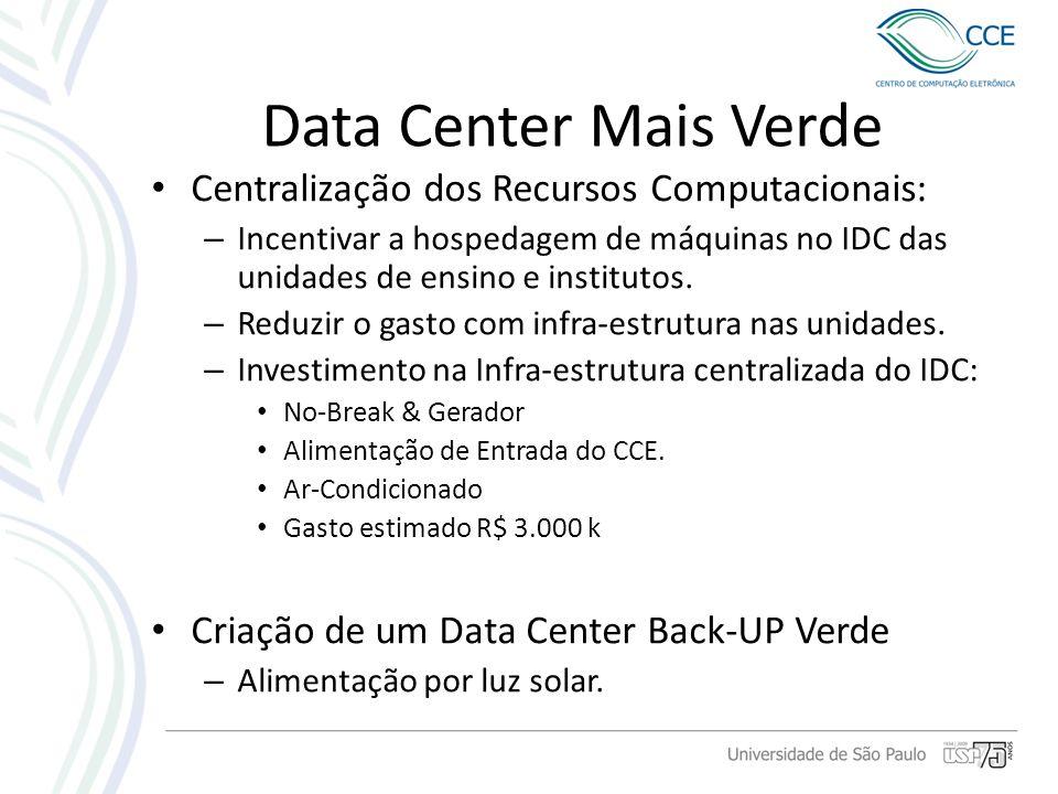 Data Center Mais Verde Centralização dos Recursos Computacionais: