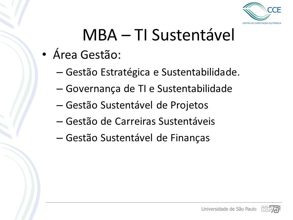 MBA – TI Sustentável Área Gestão: