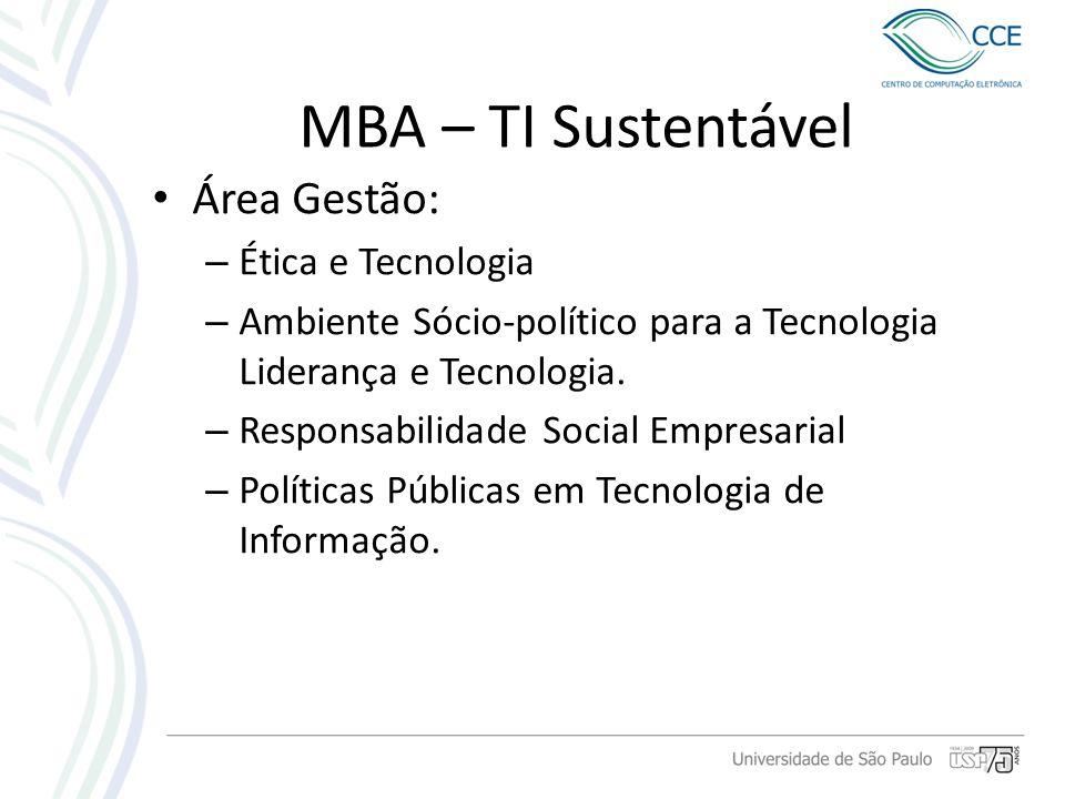 MBA – TI Sustentável Área Gestão: Ética e Tecnologia