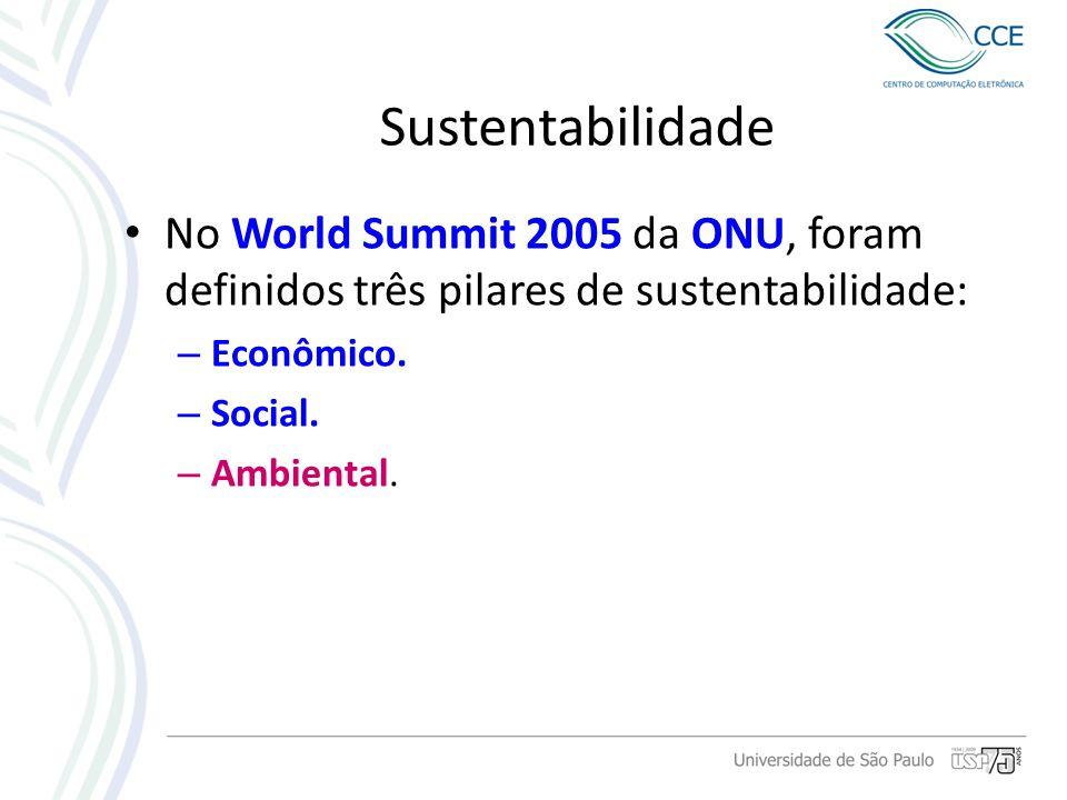 Sustentabilidade No World Summit 2005 da ONU, foram definidos três pilares de sustentabilidade: Econômico.