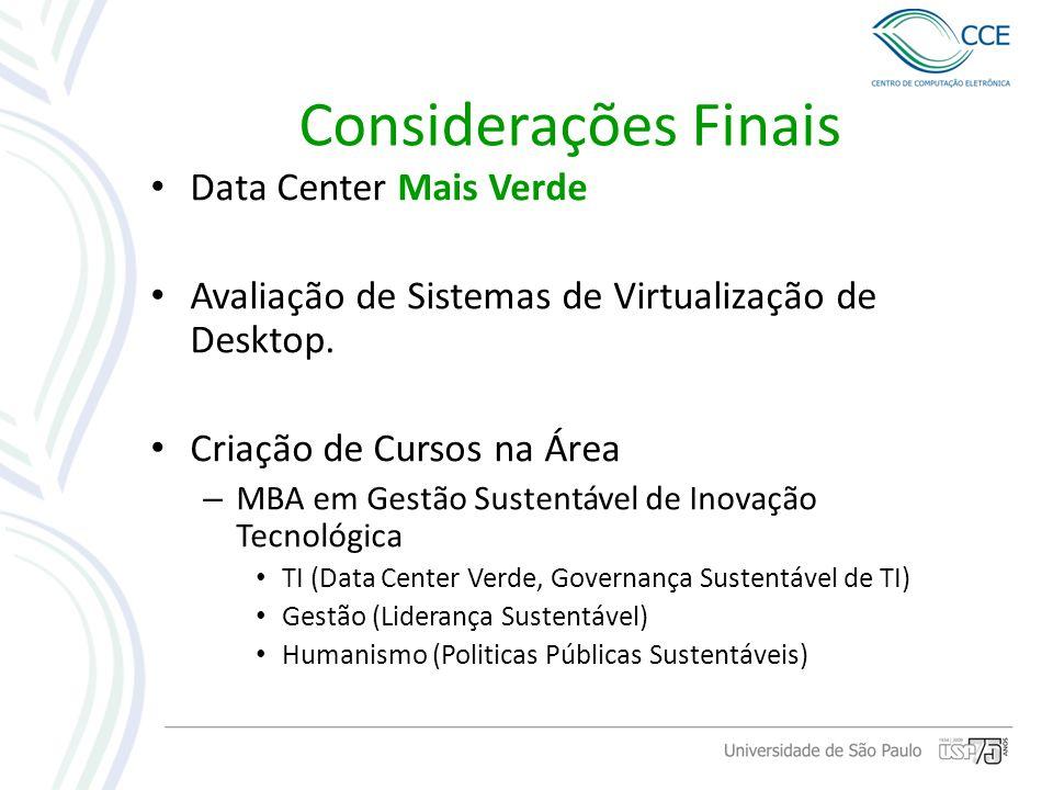 Considerações Finais Data Center Mais Verde