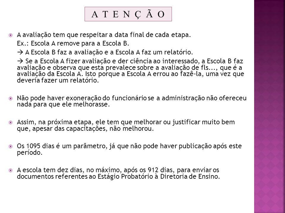A T E N Ç Ã O A avaliação tem que respeitar a data final de cada etapa. Ex.: Escola A remove para a Escola B.