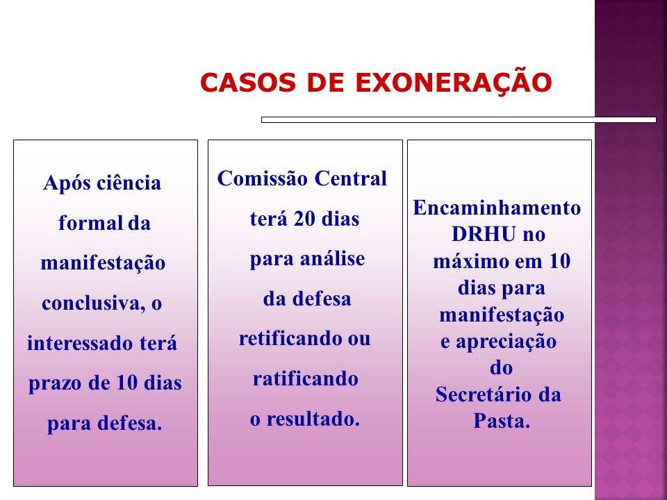 CASOS DE EXONERAÇÃO Após ciência Comissão Central terá 20 dias