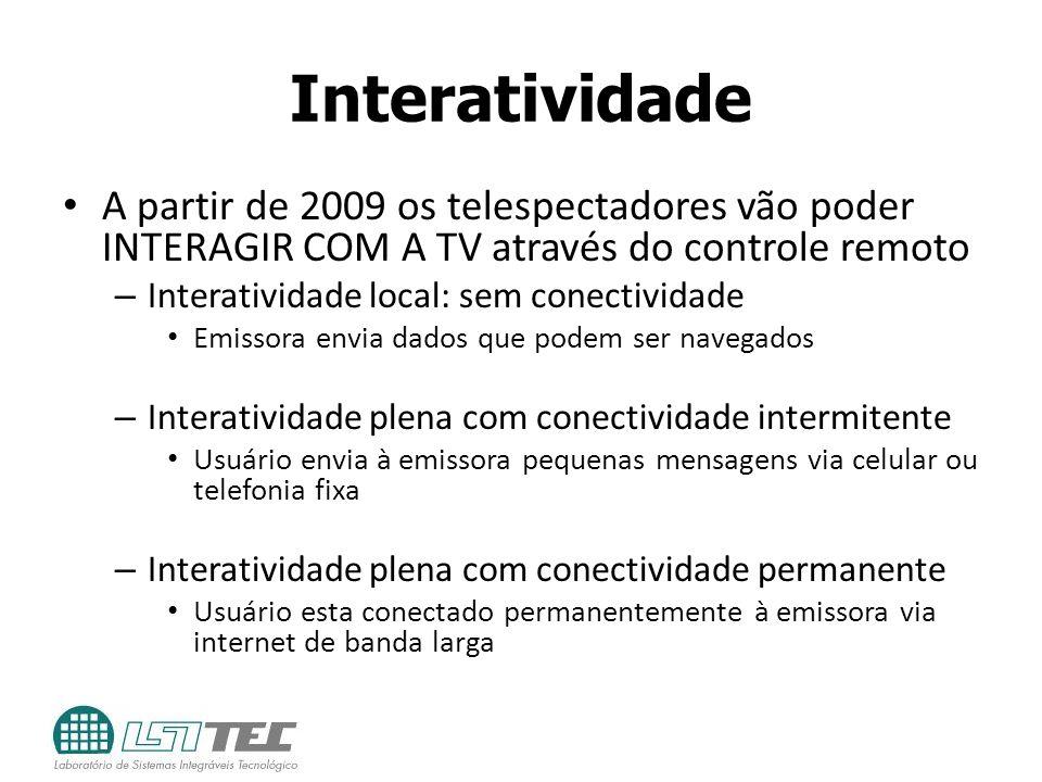 Interatividade A partir de 2009 os telespectadores vão poder INTERAGIR COM A TV através do controle remoto.