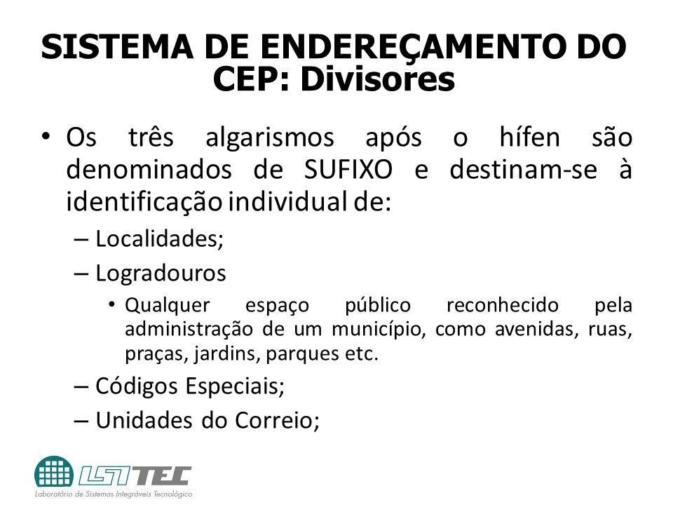SISTEMA DE ENDEREÇAMENTO DO CEP: Divisores