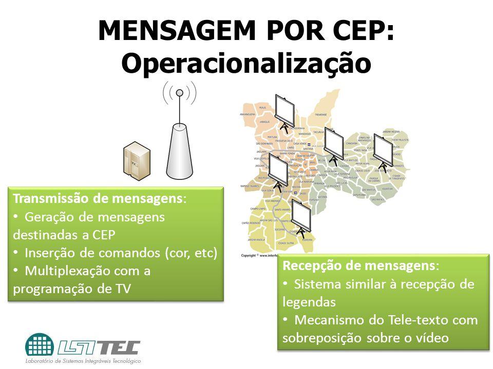 MENSAGEM POR CEP: Operacionalização