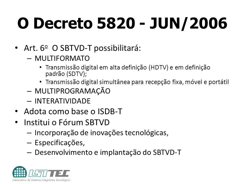 O Decreto 5820 - JUN/2006 Art. 6o O SBTVD-T possibilitará:
