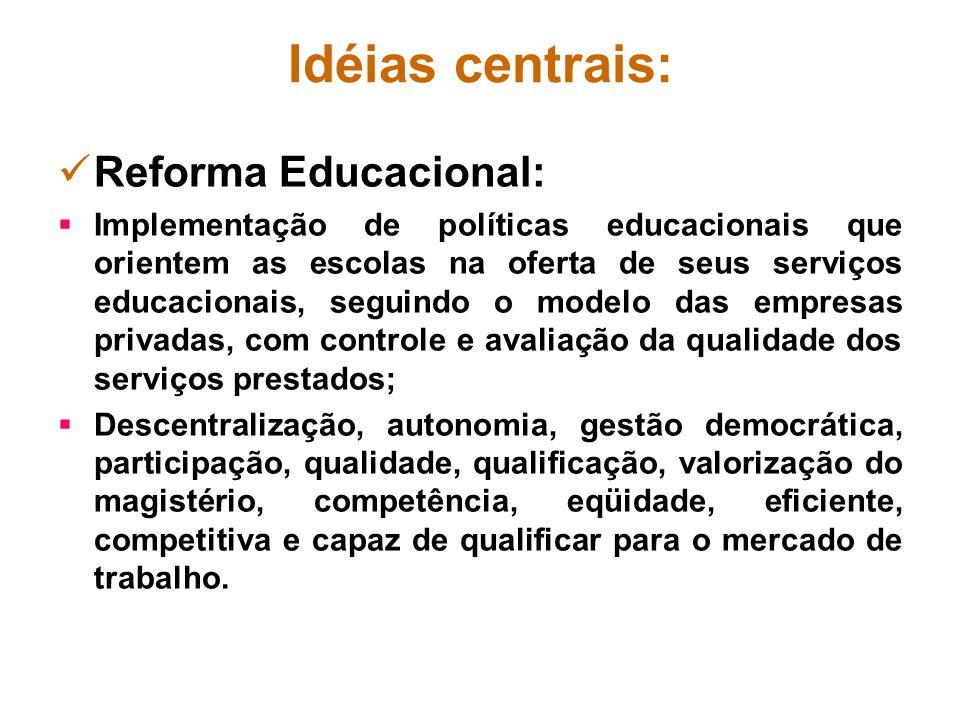Idéias centrais: Reforma Educacional:
