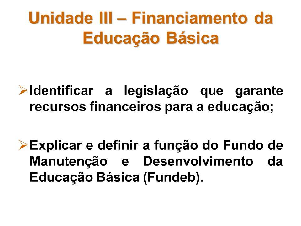 Unidade III – Financiamento da Educação Básica