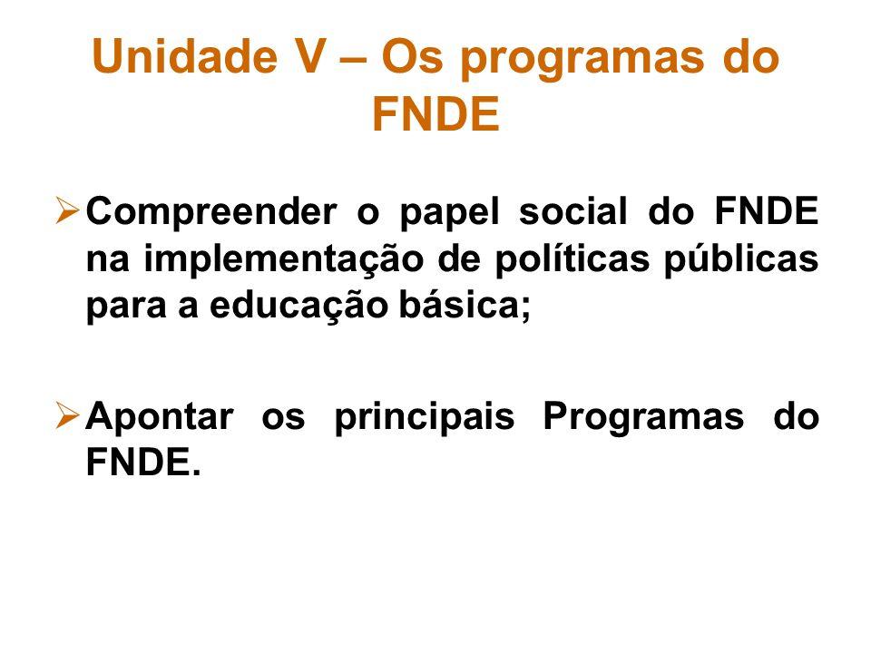 Unidade V – Os programas do FNDE