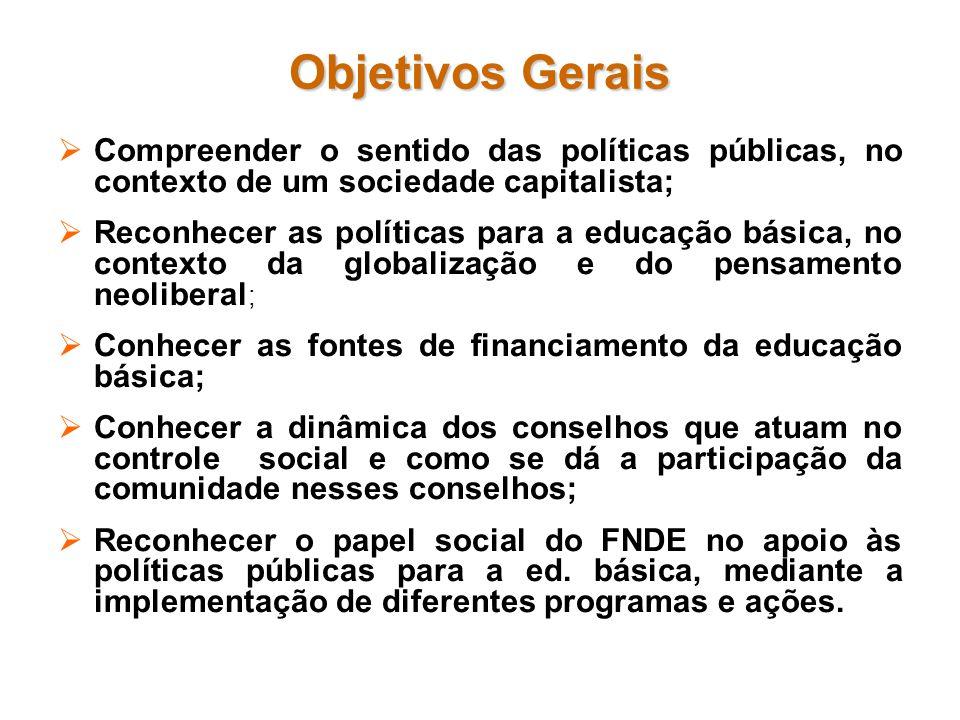 Objetivos Gerais Compreender o sentido das políticas públicas, no contexto de um sociedade capitalista;
