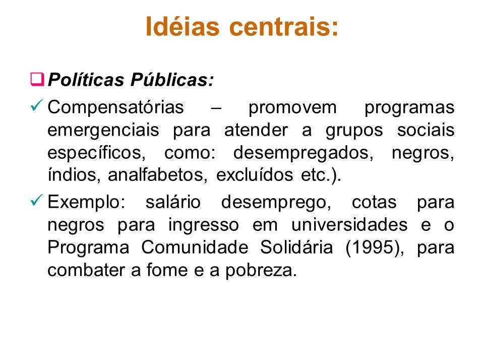 Idéias centrais: Políticas Públicas: