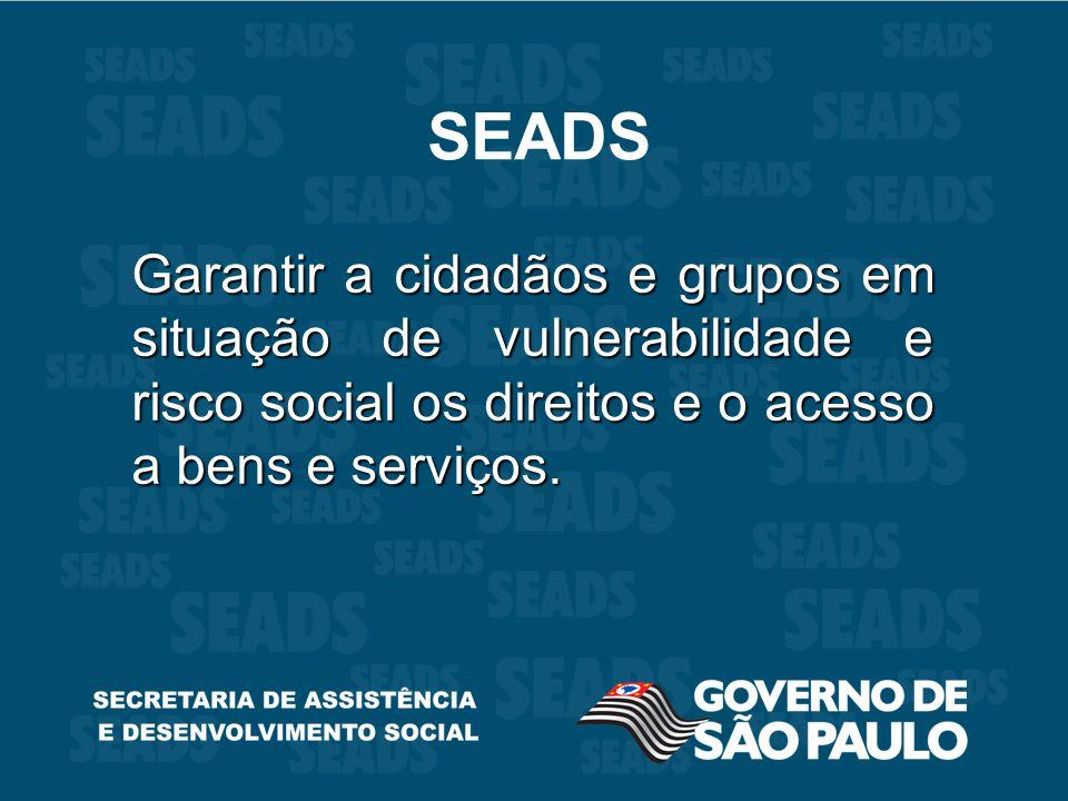 SEADS Garantir a cidadãos e grupos em situação de vulnerabilidade e risco social os direitos e o acesso a bens e serviços.