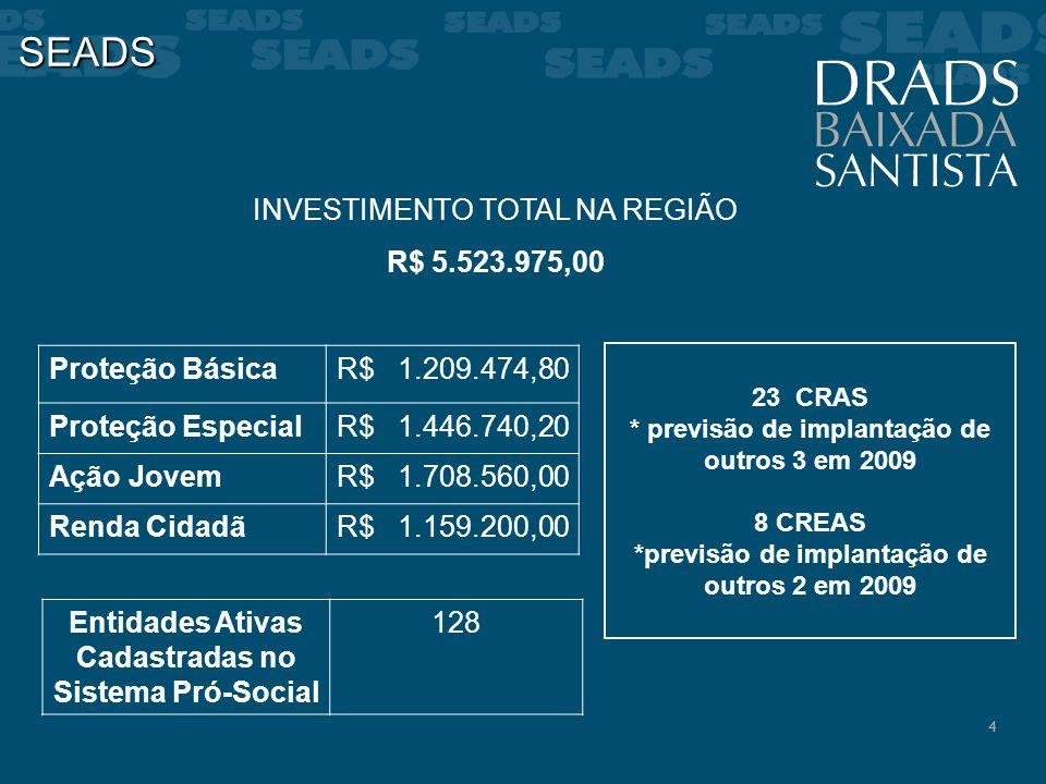 SEADS INVESTIMENTO TOTAL NA REGIÃO R$ 5.523.975,00 Proteção Básica