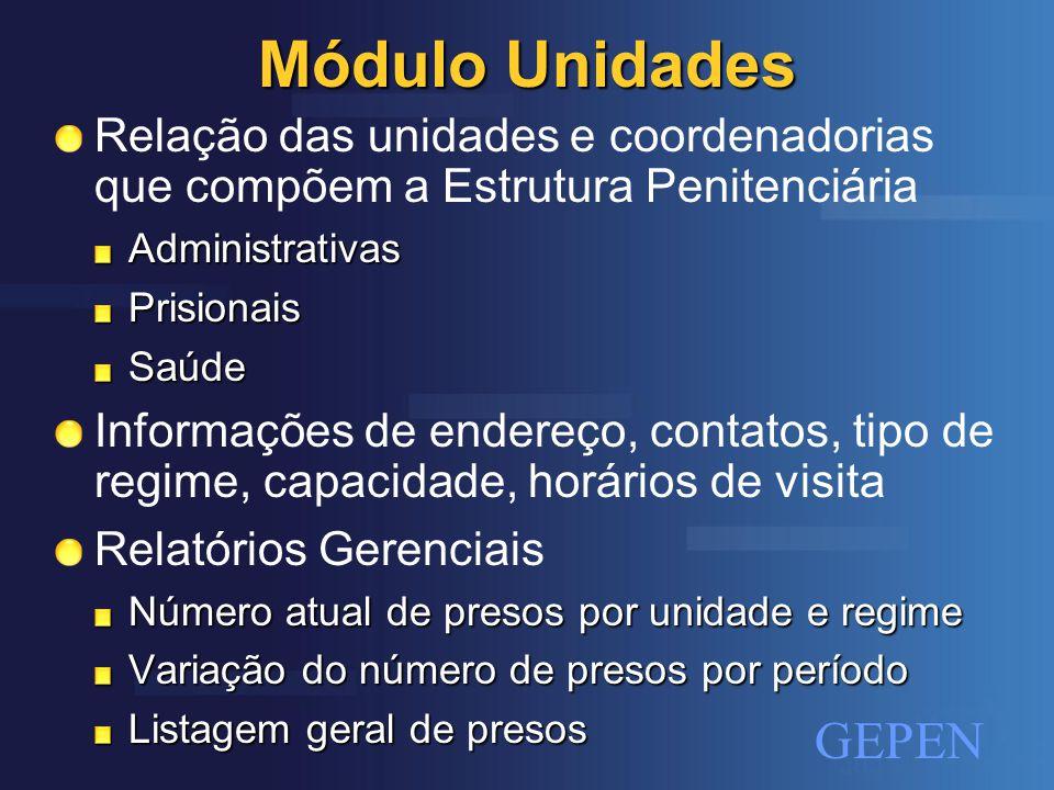 Módulo Unidades Relação das unidades e coordenadorias que compõem a Estrutura Penitenciária. Administrativas.