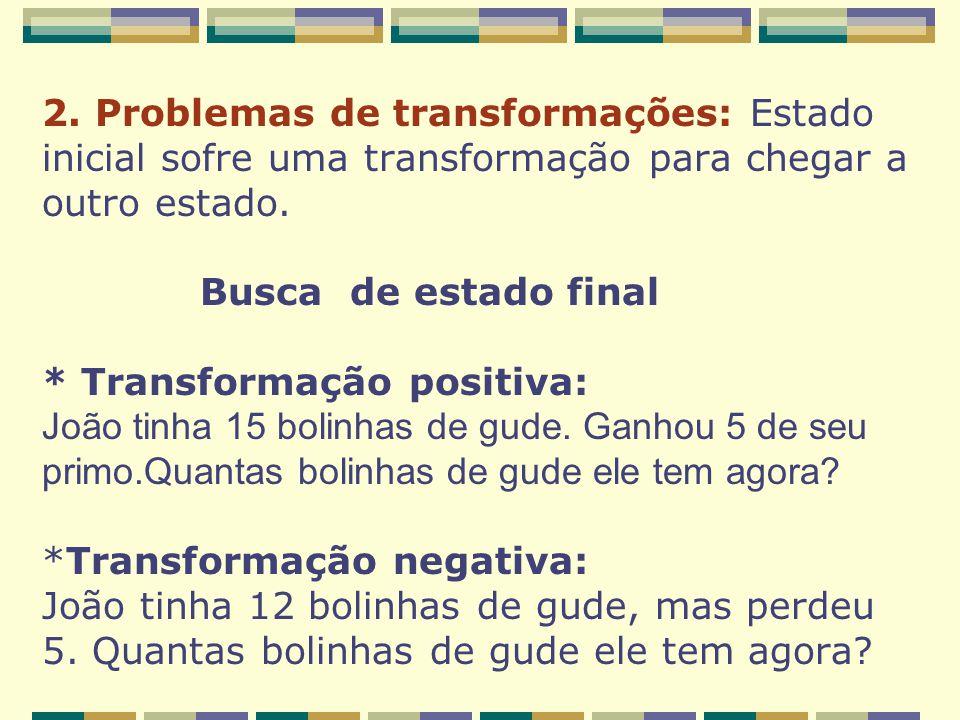 2. Problemas de transformações: Estado inicial sofre uma transformação para chegar a outro estado.