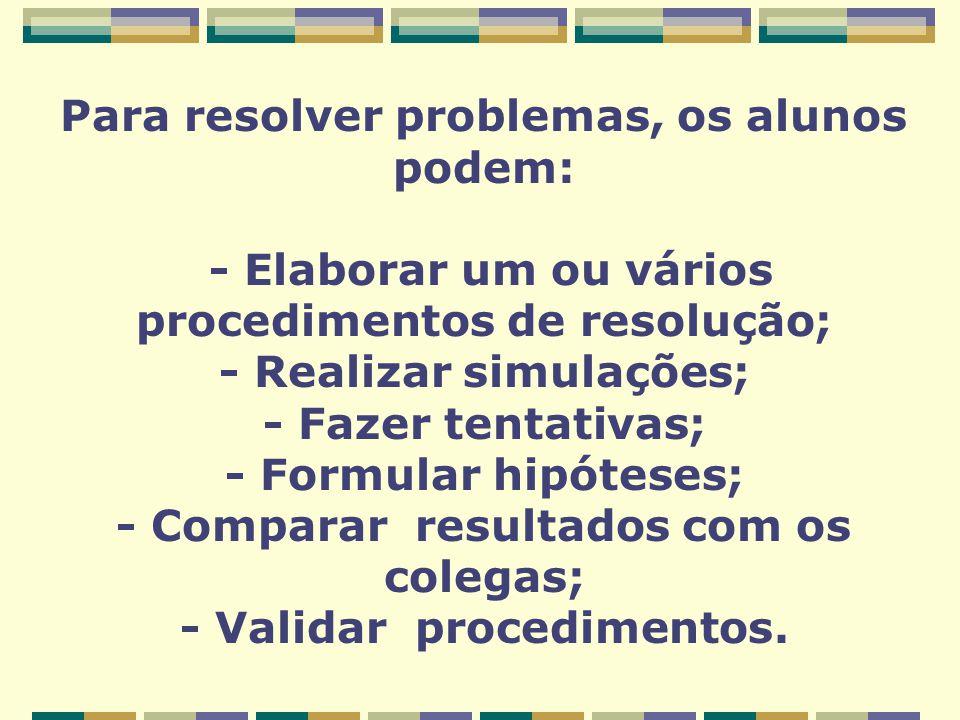 Para resolver problemas, os alunos podem: - Elaborar um ou vários procedimentos de resolução; - Realizar simulações; - Fazer tentativas; - Formular hipóteses; - Comparar resultados com os colegas; - Validar procedimentos.