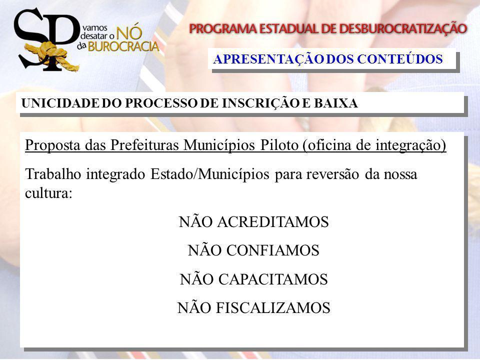 Proposta das Prefeituras Municípios Piloto (oficina de integração)