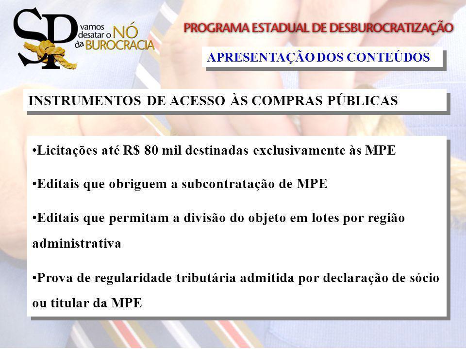 INSTRUMENTOS DE ACESSO ÀS COMPRAS PÚBLICAS