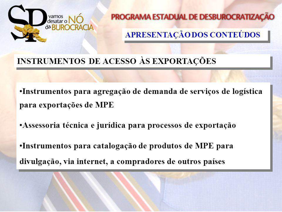 INSTRUMENTOS DE ACESSO ÀS EXPORTAÇÕES