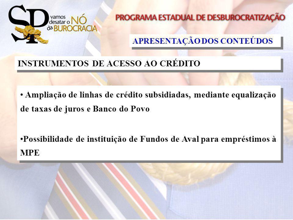 INSTRUMENTOS DE ACESSO AO CRÉDITO